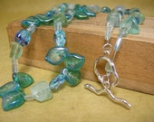 glass beaded necklace green blue with sterling toggle