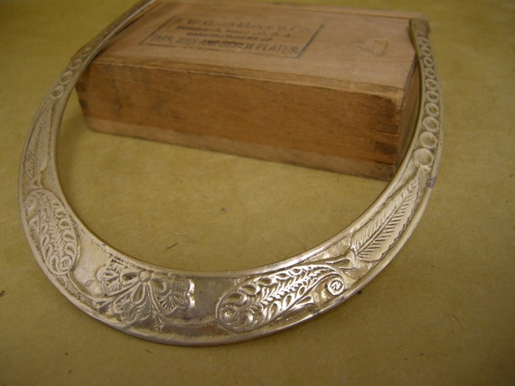 vintage brass choker collar necklace with paisley and feather design
