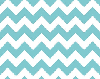 Riley Blake Designs, Medium Chevron in Aqua (C320)