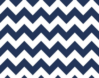 Riley Blake Designs, Medium Chevron in Navy (C320 21)