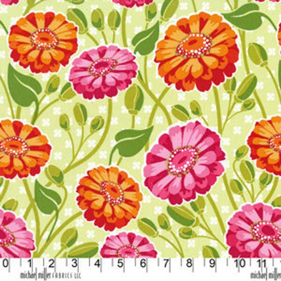 Lush by Patty Young Zinnia Garden in Creamsicle - 1 yard