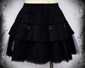 Chained pleats visual kei goth skirt adult--small to plus size