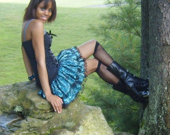 Black lace skirt with satin