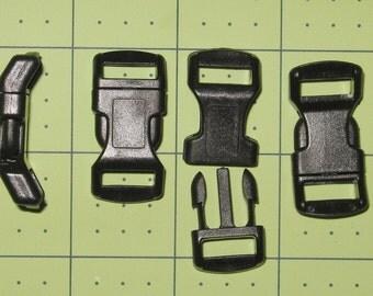 """100 count 1/2"""" contoured side release buckle NO adjuster bar black N12"""