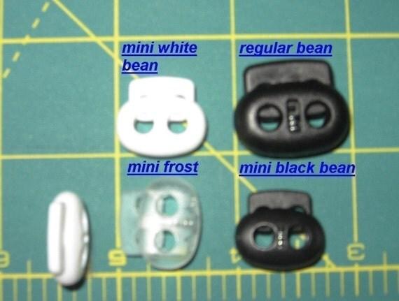 950 mini black bean cord locks plus 50 clear frosted mini bean 2 hole toggles