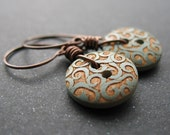 meandering vines carved wood button earrings with copper oxidized wire