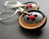 SALE rustic wood buttons stitched red and black with sterling silver
