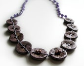 SALE abstract flower sewing button necklace copper purple