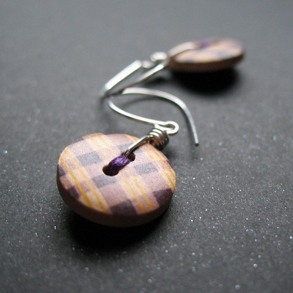 SALE purple plaid sewing button earrings with sterling