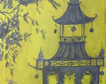 yellow and grey toile