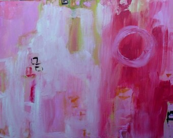 Abstract painting on wood, Pink Cloud,