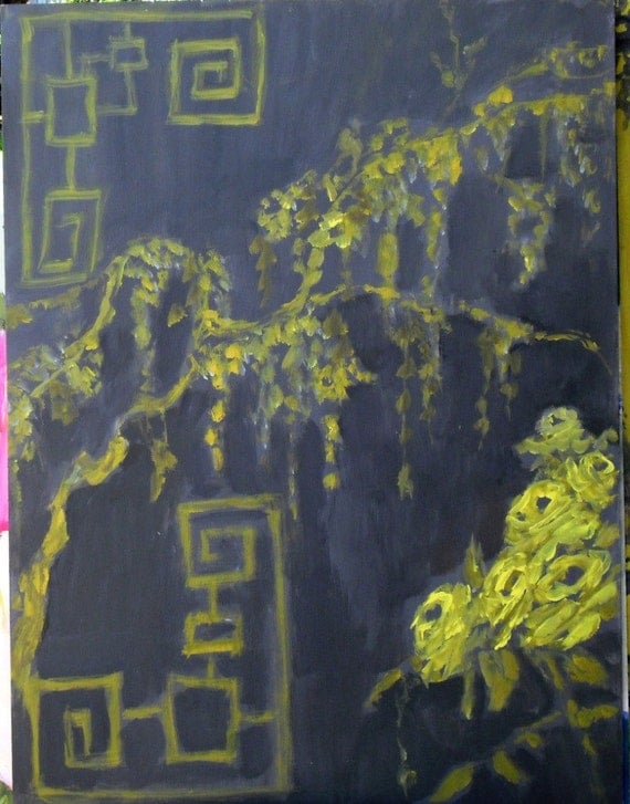 grey and yellow chinoiserie