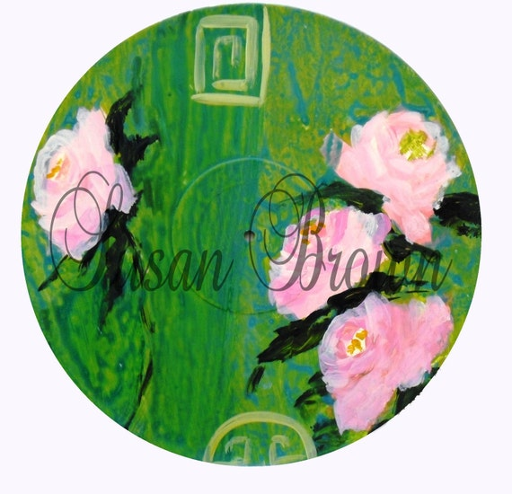 Green And Pink Roses Chinoiserie ~ Mothers Day Roses ~ Roses Wall Art ~ Romantic Wall Art Decor ~ Green and Pink Shabby Chic