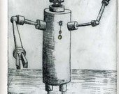 Hand made copperplate etching, Howdy-bot robot art