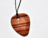 Handmade Wooden Tulipwood Guitar Pick Necklace