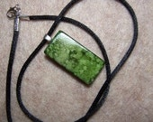 alcohol ink mini domino pendant necklace in green