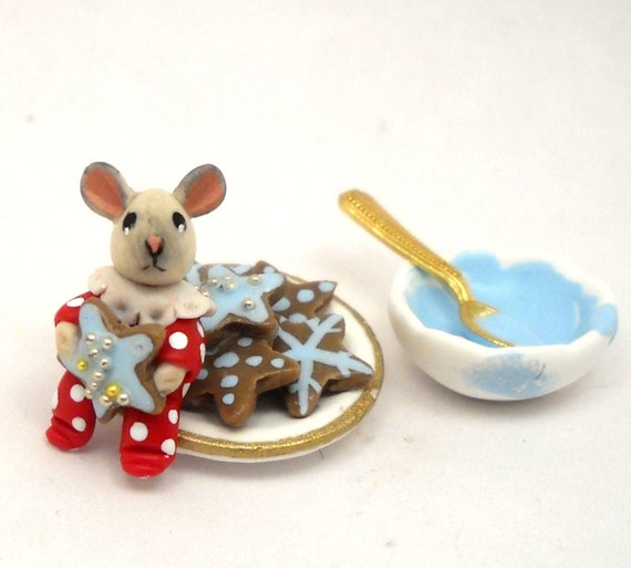 1/12TH scale - Christmas mouse with star cookies set by Lory