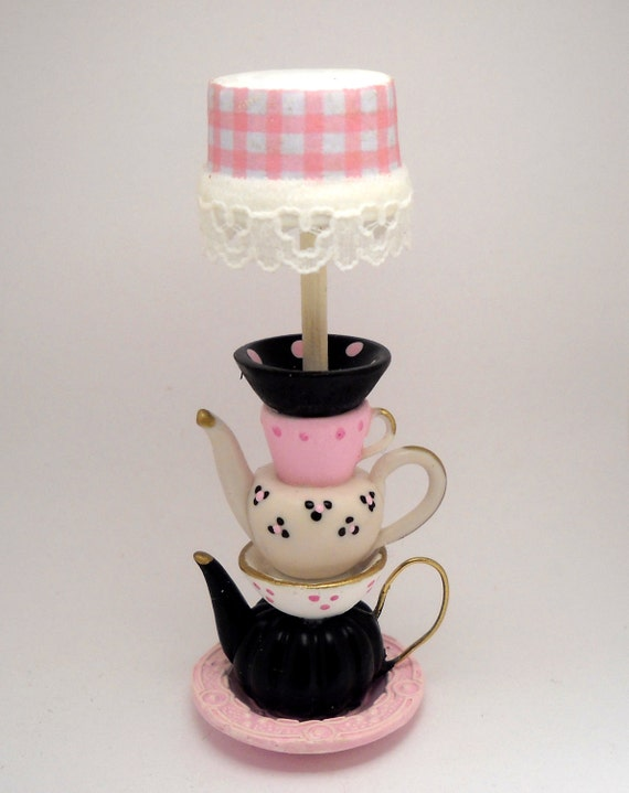 1/12TH scale - SALE - stacked teapots lamp was 35 now 25 euros by Lory