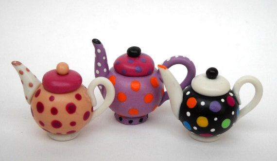 1/12TH scale -  polka dots teapot - one at your choice - black with colorful dots RESERVED for Minteriors by Lory