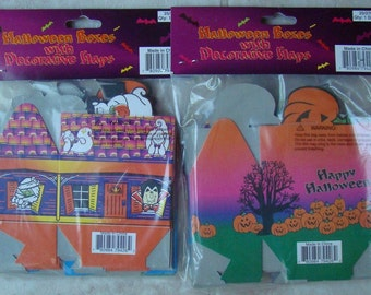 Halloween favor boxes - one dozen, party gift boxes haunted house spooky holiday pumpkins