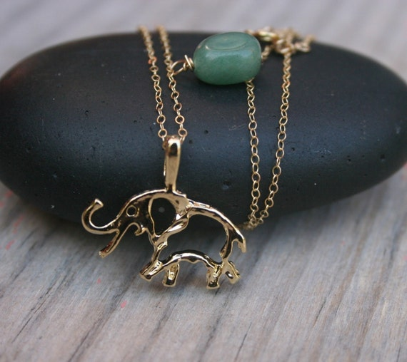 items similar to elephant charm charm necklace with jade