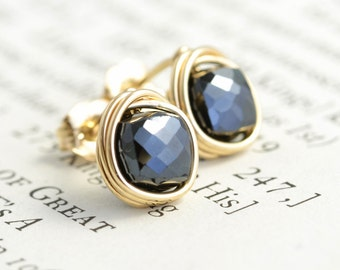 Black Spinel Studs, Square Earrings, Black Post Earrings