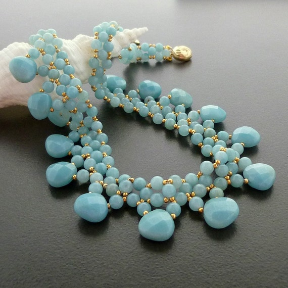 Amazonite Princess Handmade Beaded Gold Necklace
