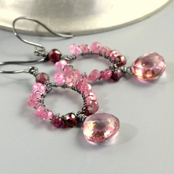 RESERVED For MK - Tourmaline Pink Quartz Earrings Oxidized Sterling
