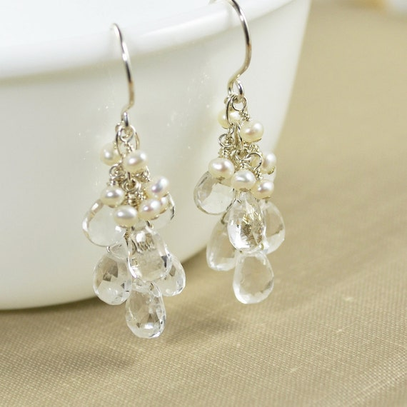 White Topaz Gemstone Sterling Earrings, Freshwater Pearl, Bridal