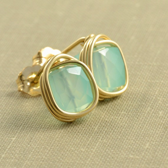 Aqua Chalcedony Post Stud Earrings, Mint Green Earrings