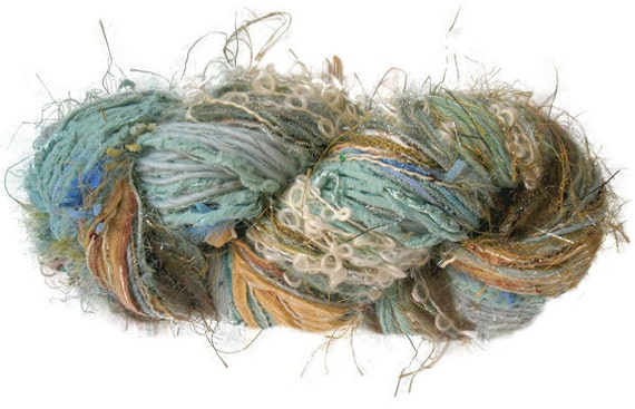 RESERVED for Wynona Studios: Scraplet Skeins unique hand-tied art yarn in Primavera- 120 yds.