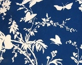 navy and white butterfly and floral vintage wallpaper