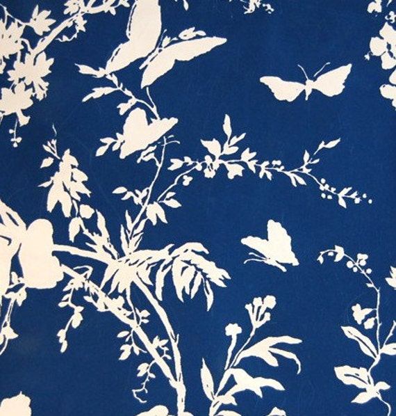 items similar to navy and white butterfly and floral vintage wallpaper on etsy. Black Bedroom Furniture Sets. Home Design Ideas