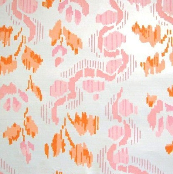 pink and orange ikat vintage wallpaper