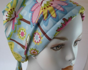 Chemo Scarf Cancer Turban Hat Cotton Elastic Head Wrap Springtime Floral
