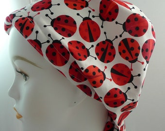 Lady Bug Cancer Hat Chemo Hair Loss Head Wrap Scarf Cotton Turban Fitted Padded Alopecia Bad Hair Day