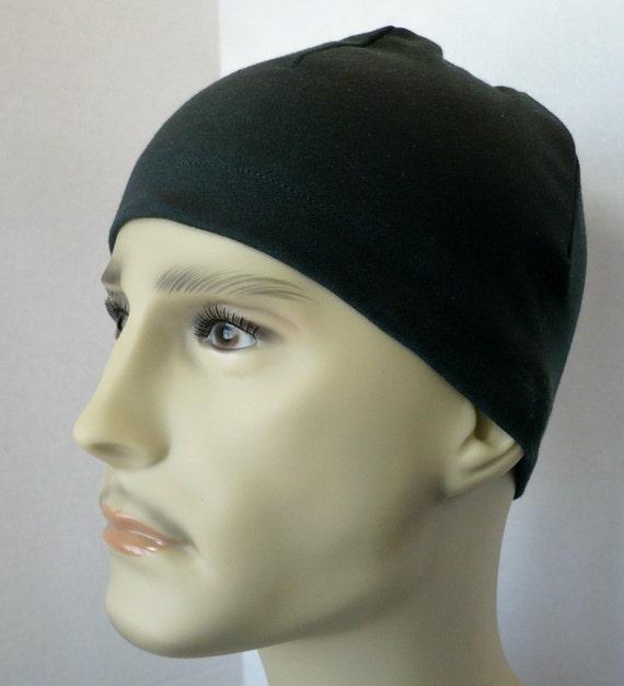 Men's Black Skull Hat Cotton Poly Interlock CPAP Soft Sleep Cap