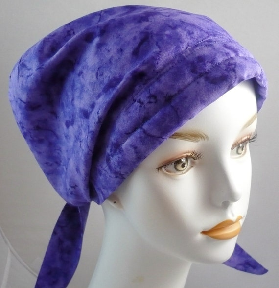 Women's Purple Fitted Chemo Scarves Cancer Hat Turban Hair Loss Alopecia