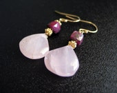 Lakshmi - Rose Quartz and Ruby Earrings