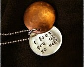 Custom Stamped Jewelry Gift- Hidden Message Copper and Sterling Tag Necklace- Personalized with Your Message- Friend Gift