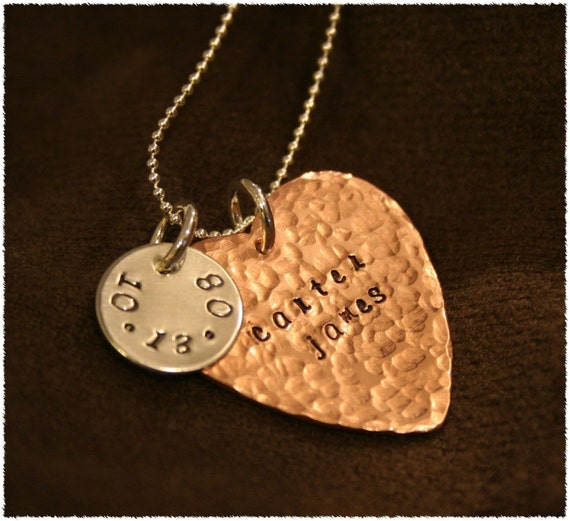 Copper and Sterling Custom Stamped Heart Necklace- Great for Bride/Groom Names and Wedding Date or Baby Name and Birthdate