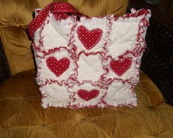 Custom Made rag quilt purse  tote handbag