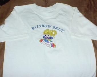 Rainbow Brite-- embroidered Tee shirt  size 6-8