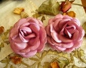 Lot of 2, 3 inch Satin Padded Antique Pink Rose Flower Satin Appliques