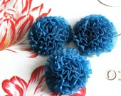 6 pcs , Peacock Blue Organza Chrysanthemum Flower Appliques in 1.5""
