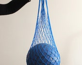 Eco friendly Royal Blue Net Bag - Go Green - Great to use at beach, shopping, to organize laundry, toys, fruits