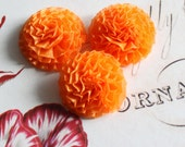 Lot of 6, Orange Organza Chrysanthemum Flower Appliques in 1.5""