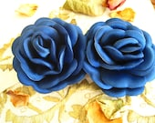Satin Royal Blue Rose Flower - 2 piece