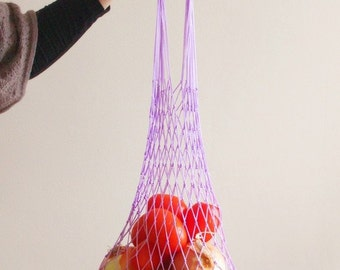Lilac Eco Friendly Shopping Net Bag, Great for  go to the beach, shopping, hold dirty clothes, toys, beach accessories