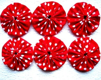 Red and White Dotted Christmas Yo-Yo Appliques 2.3 inches